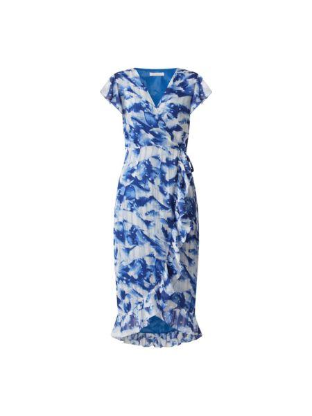 Niebieska sukienka midi rozkloszowana z falbanami Freebird