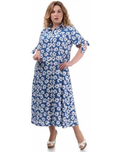 Платье из штапеля с воротником на пуговицах Caramella