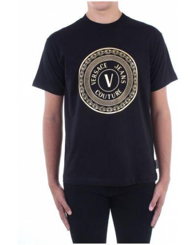 Z rękawami czarny t-shirt Versace Jeans Couture