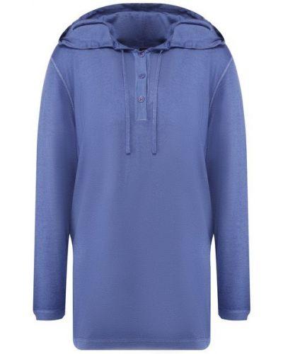 Тонкий синий кашемировый пуловер на пуговицах Kiton