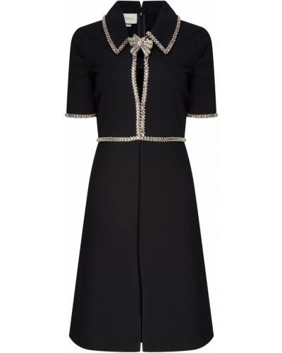 Прямое с рукавами черное платье мини Gucci