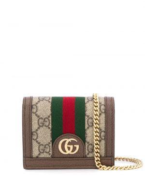 Z paskiem portfel skórzany złoto z prawdziwej skóry z gniazdem Gucci