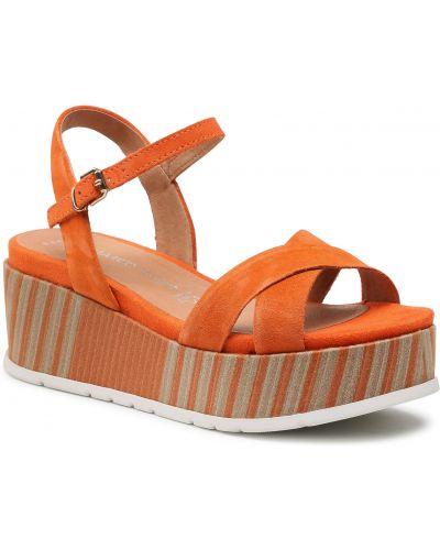Sandały skórzane - pomarańczowe Marco Tozzi