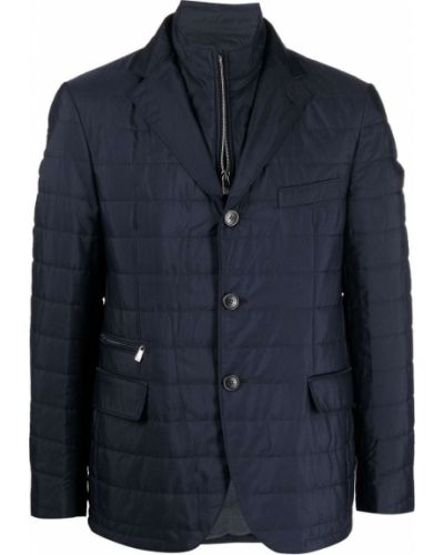 Синяя длинная куртка Corneliani