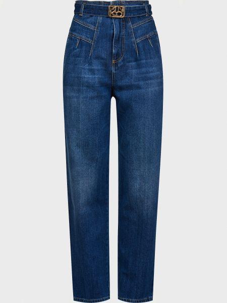 Хлопковые джинсы на молнии с поясом Pinko