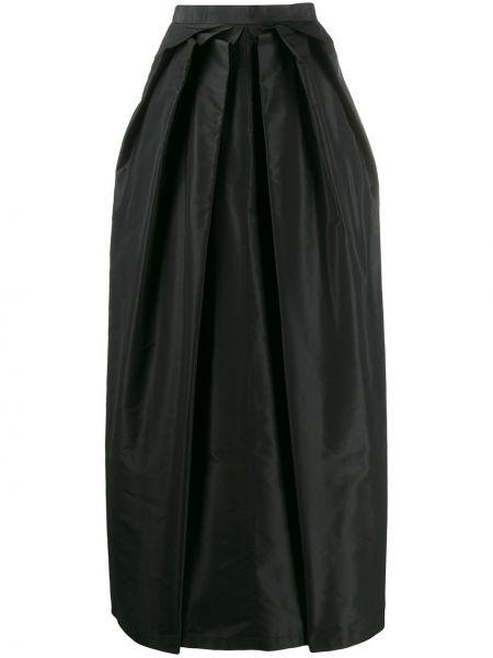 Шелковая черная юбка макси с поясом Moschino Pre-owned