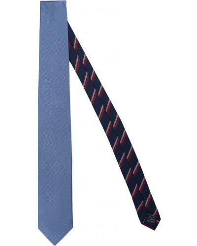 Prążkowany niebieski krawat Tommy Hilfiger Tailored