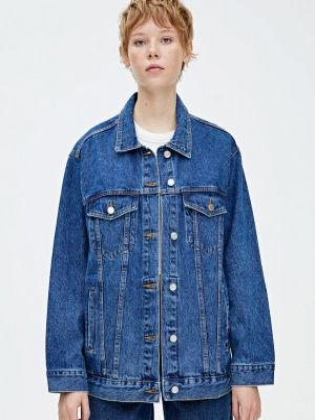 Джинсовая куртка весенняя синий Pull&bear