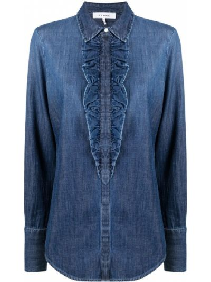 Синяя с рукавами классическая рубашка с воротником Frame