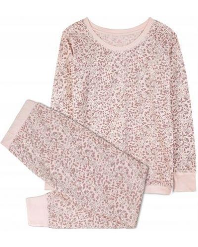 Różowa piżama bawełniana z długimi rękawami Atlantic