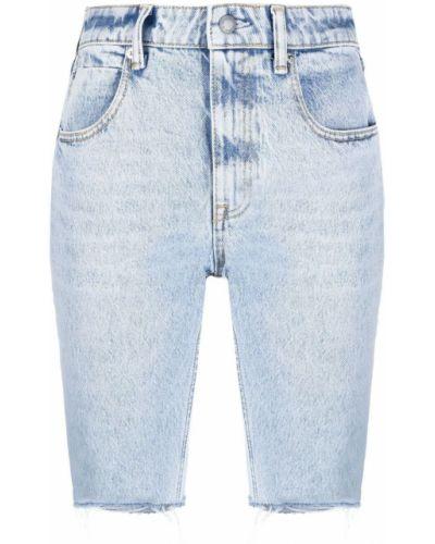 Хлопковые синие джинсовые шорты с карманами Alexanderwang.t