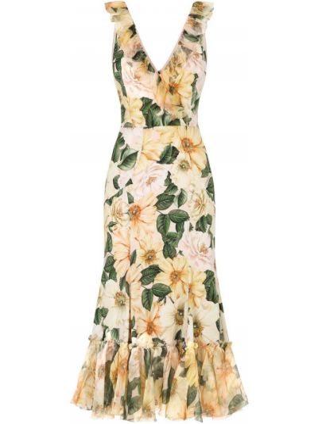 Желтое шелковое платье миди в цветочный принт Dolce & Gabbana