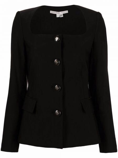 Черная длинная куртка для полных с карманами Veronica Beard