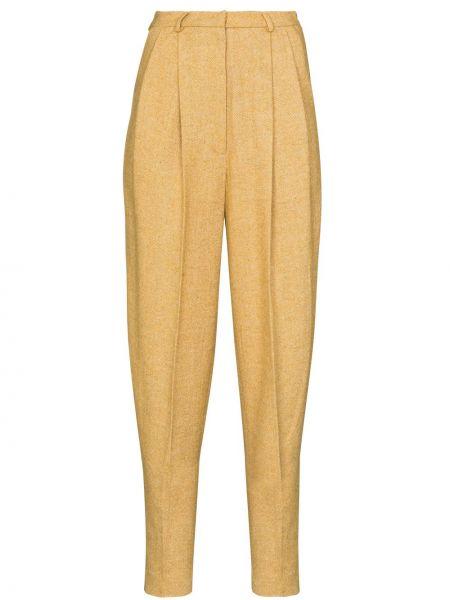 Желтые акриловые прямые деловые укороченные брюки Anouki