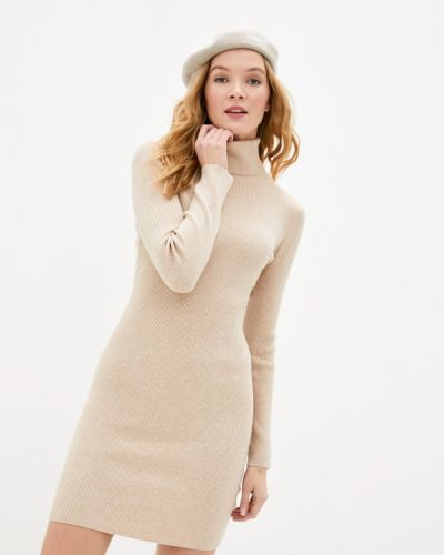 Бежевое трикотажное вязаное платье B.style