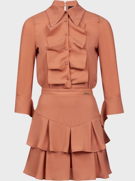 Розовое платье на пуговицах Elisabetta Franchi