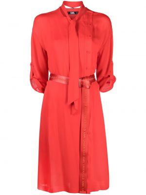 С рукавами шелковое красное платье миди Karl Lagerfeld