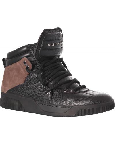 Кожаные ботинки осенние черные Dolce & Gabbana