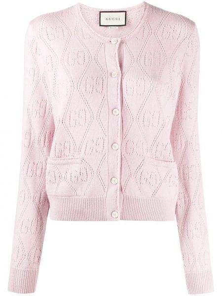 Wełniany różowy kardigan z łatami z kieszeniami Gucci