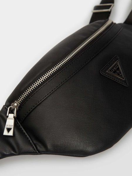 Черная кожаная поясная сумка Guess