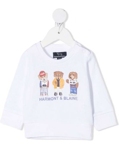Белая хлопковая футболка с круглым вырезом с длинными рукавами Harmont & Blaine Junior