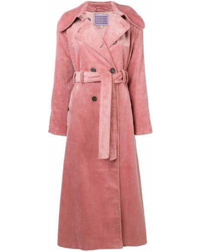 Розовый длинный плащ с поясом Alexa Chung