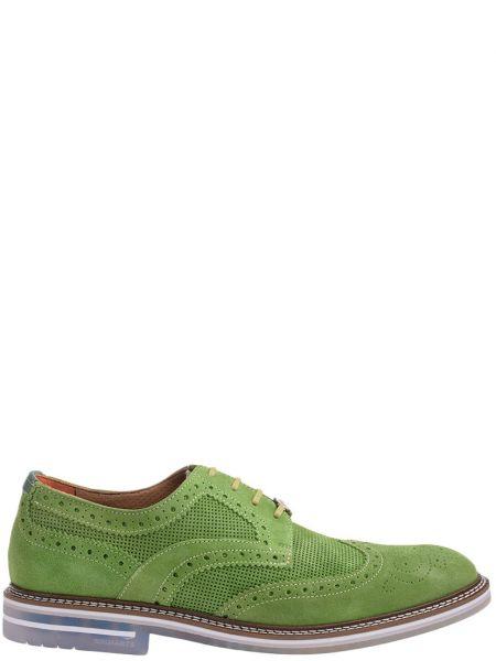 Кожаные броги - зеленые Brimarts