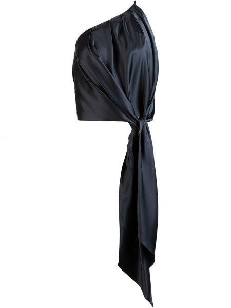 Прямой шелковый синий топ с драпировкой Michelle Mason