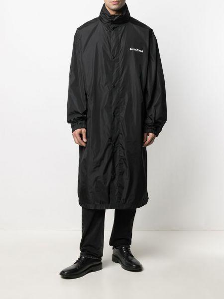 С рукавами черное длинное пальто с манжетами Balenciaga