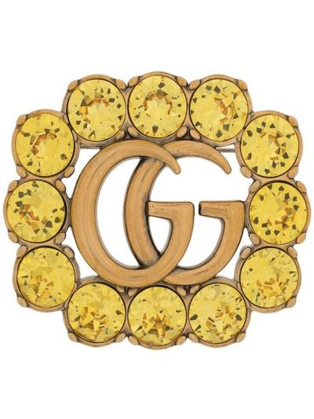 Żółta złota broszka Gucci
