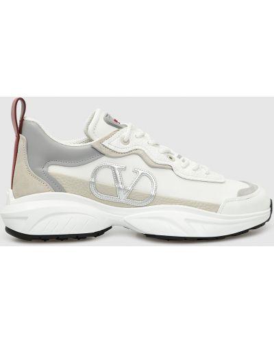 Кожаные белые кроссовки со вставками Valentino