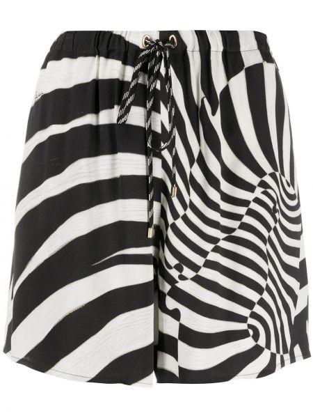 Черные шорты с поясом из вискозы Roberto Cavalli