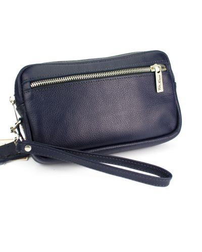 Синяя кожаная сумка на молнии Tom Stone