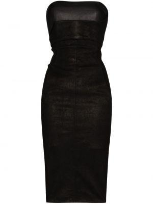 Кожаное платье без рукавов без бретелек с вырезом Rick Owens