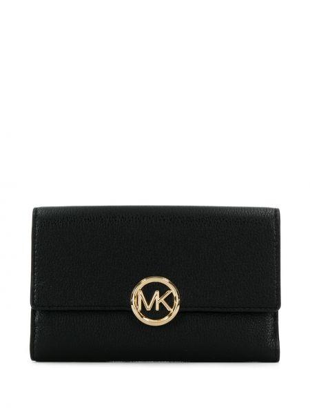 Кожаный кошелек черный золотой Michael Michael Kors