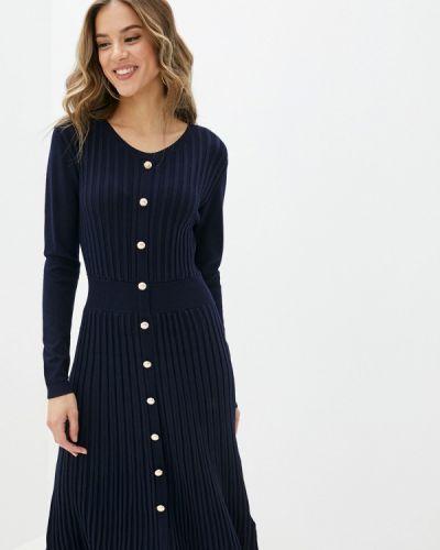 Трикотажное синее вязаное платье Yumi