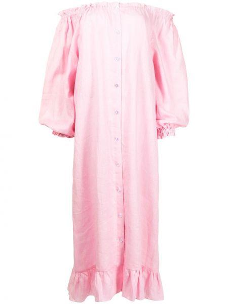 Różowa lniana sukienka midi z długimi rękawami Sleeper