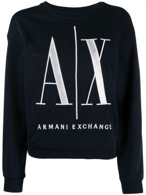 Хлопковая синяя толстовка круглая Armani Exchange