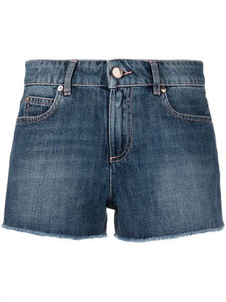 Хлопковые синие джинсовые шорты с нашивками Red Valentino