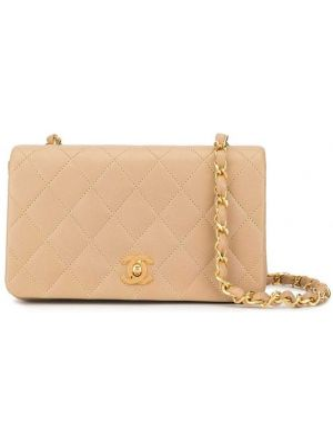 Кожаная золотистая коричневая стеганая сумка на цепочке Chanel Pre-owned
