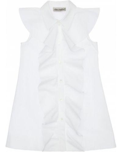 Biała sukienka z falbanami bawełniana Simonetta