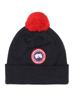 Niebieski czapka beanie wełniany Canada Goose Kids