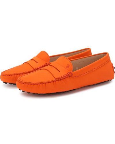 Оранжевые кожаные мокасины Tods