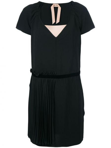 Czarna sukienka mini krótki rękaw z jedwabiu N°21