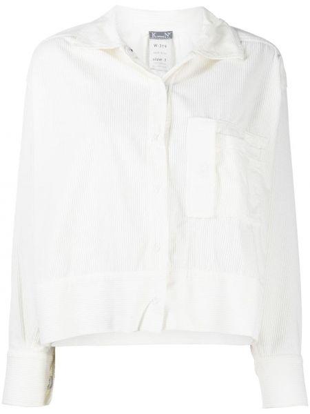 С рукавами белая классическая рубашка вельветовая Kristensen Du Nord