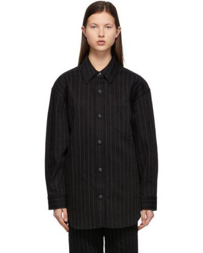 Czarna koszula bawełniana z długimi rękawami Alexander Wang