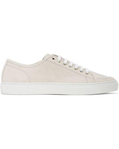 Skórzane sneakersy białe srebro Brioni