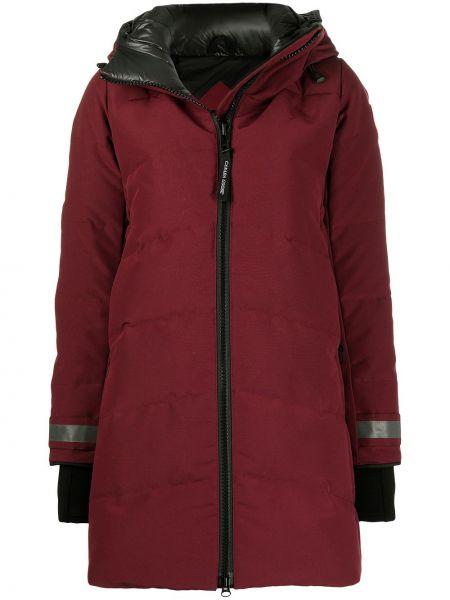 Красное пуховое пальто классическое с капюшоном Canada Goose