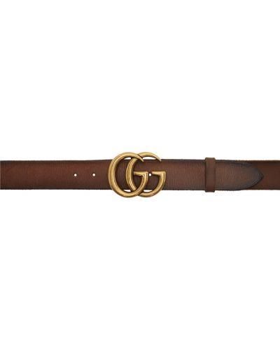 Brązowy pasek skórzany z paskiem Gucci