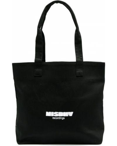 Czarna torba na ramię bawełniana z printem Misbhv